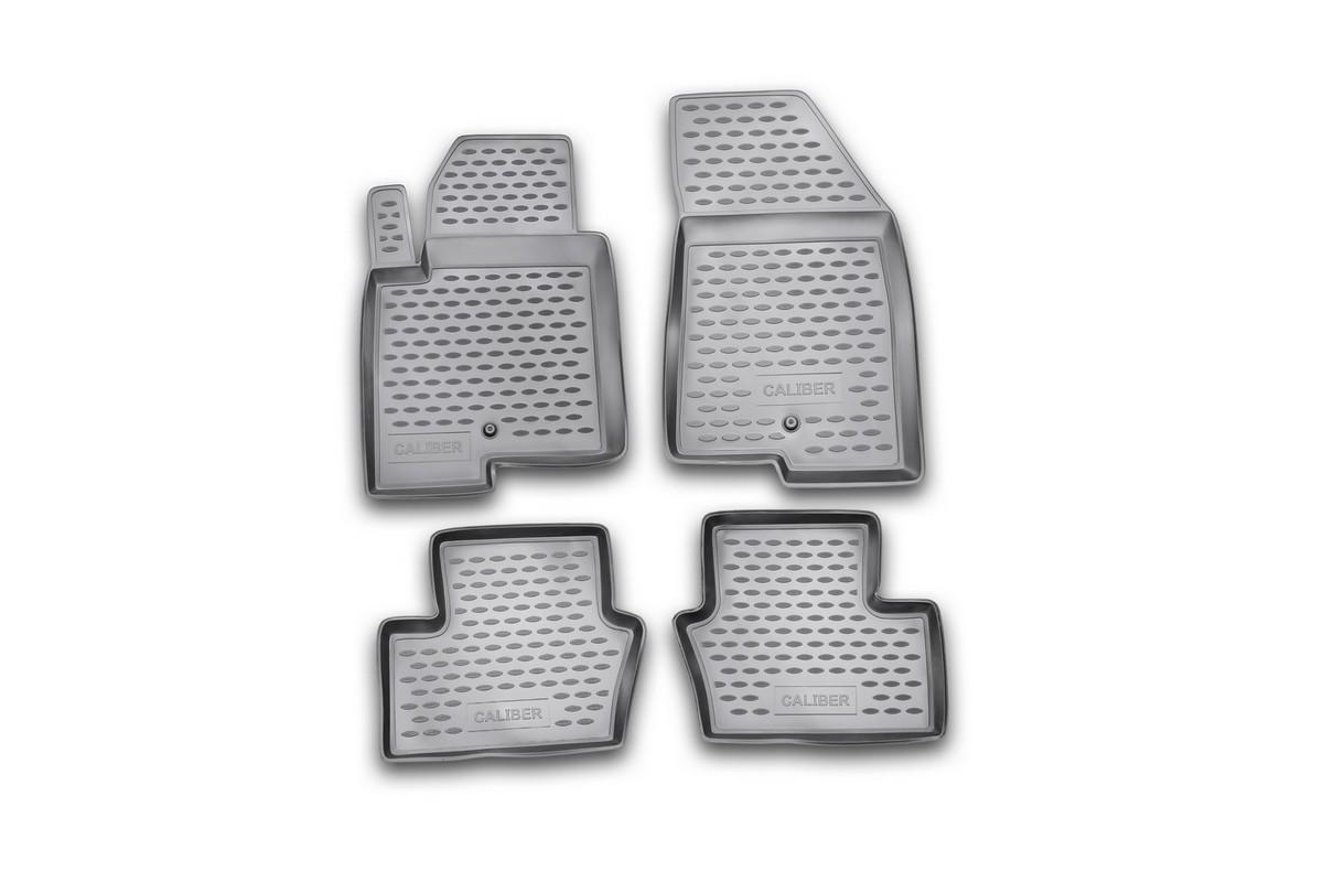 Набор автомобильных ковриков Novline-Autofamily для Dodge Caliber 2006-, в салон, цвет: серый, 4 штNLC.13.03.211Набор автомобильных ковриков Novline-Autofamily, изготовленный из полиуретана, состоит из 4 ковриков, которые учитывают все особенности каждой модели автомобиля и полностью повторяют контуры пола. Полиуретановые автомобильные коврики для салона произведены из высококачественного материала, который держит форму, прочный и не пачкает обувь. Коврики в салон не только улучшат внешний вид салона вашего автомобиля, но и надежно уберегут его от пыли, грязи и сырости, а значит, защитят кузов от коррозии. Полиуретановые коврики для автомобиля гладкие, приятные и не пропускают влагу. Ковры для автомобилей надежно крепятся на полу и не скользят, что очень важно во время движения. Чистятся коврики очень просто: как при помощи автомобильного пылесоса, так и различными моющими средствами. Набор подходит для Dodge Caliber с 2006 года выпуска.