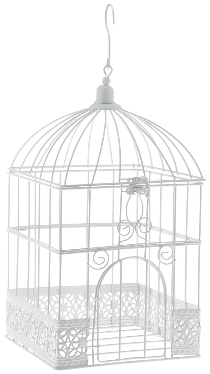 Клетка декоративная Magic Home Ажурная, 17 х 17 х 32 см44159Декоративная клетка Magic Home Ажурная выполнена из высококачественного металла. Изделие украшено изящными коваными узорами и дополнено крышкой, которая закрывается на специальный замок. Сверху клетки имеется крючок, за который ее можно повесить в любое удобное место. Такая клетка подойдет для декора интерьера дома или офиса. Кроме того, это отличный вариант подарка для ваших близких и друзей. Размер клетки: 17 х 17 х 32 см.