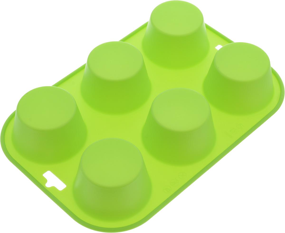 Форма для выпечки Paterra, силиконовая, цвет: зеленый, 6 ячеек402-438_зеленыйФорма для кексов и желе Paterra, выполненная из силикона, будет отличным выбором для всех любителей домашней выпечки. Форма имеет 6 круглых ячеек. Силиконовые формы для выпечки имеют множество преимуществ по сравнению с традиционными металлическими формами и противнями. Нет необходимости смазывать форму маслом. Она быстро нагревается, равномерно пропекает, не допускает подгорания выпечки с краев или снизу. Вынимать продукты из формы очень легко. Слегка выверните края формы или оттяните в сторону, и ваша выпечка легко выскользнет из формы. Материал устойчив к фруктовым кислотам, не ржавеет, на нем не образуются пятна. Форма может быть использована в духовках и микроволновых печах (выдерживает температуру от -40° С до +250°С), также ее можно помещать в морозильную камеру и холодильник. Размер формы: 24 х 16,5 х 3,5 см. Размер ячейки: 6 х 6 х 3,5 см