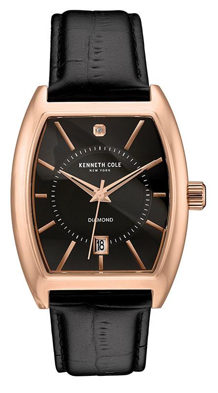 Наручные часы мужские Kenneth Cole Genuine Diamond, цвет: черный. 1003081910030819Часы наручные Kenneth Cole 10030819, 1бр., 0,01 ct, TW/SI, PVD покрытие