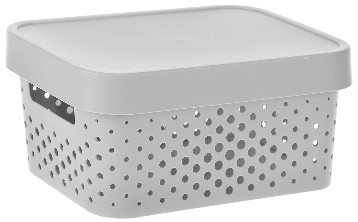 Коробка для хранения Curver Infinity, с крышкой, цвет: серый, 4,5 л04760-099-00Коробка для хранения мелочей Curver Infinity выполнена из высококачественного пластика. Специальные отверстия на стенках создают идеальные условия для проветривания. Изделие оснащено крышкой и двумя эргономичными ручками для переноски. Коробка Curver очень вместительна и поможет вам хранить все необходимые мелочи в одном месте. Объем коробки: 4,5 л. Размер коробки (с учетом крышки): 26 х 17,5 х 12,5 см.