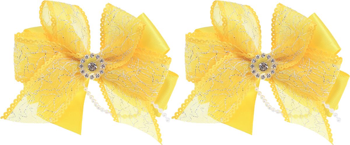 Babys Joy Резинка для волос Бант цвет желтый 2 шт MN 208/2MN 208/2_желтыйРезинка для волос Babys Joy выполнена в виде двойного банта из атласной и декоративной ленты, центр которого закреплен элементом из страз. Резинка позволит не только убрать непослушные волосы с лица, но и придать образу немного романтичности и очарования. В упаковке: 2 резинки. Рекомендовано для детей старше трех лет.