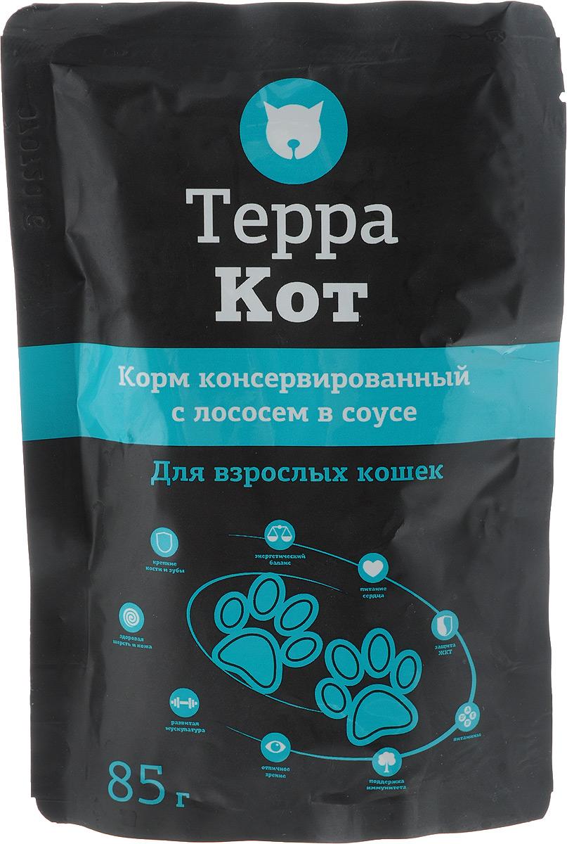 Консервы Терра Кот для взрослых кошек, с лососем в соусе, 85 г00-00001294Консервы для взрослых кошек Терра Кот - полнорационный сбалансированный корм, который идеально подойдет вашему питомцу. Такой корм содержит натуральные ингредиенты и оптимальное количество витаминов и минералов, которые необходимы животному для поддержания прекрасной физической формы, формирования костной системы, шерстного покрова и иммунитета. В рацион домашнего любимца нужно обязательно включать консервированный корм, ведь его главные достоинства - высокая калорийность и питательная ценность. Консервы лучше усваиваются, чем сухие корма. Также важно, чтобы животные, имеющие в рационе консервированный корм, получали больше влаги. Товар сертифицирован.