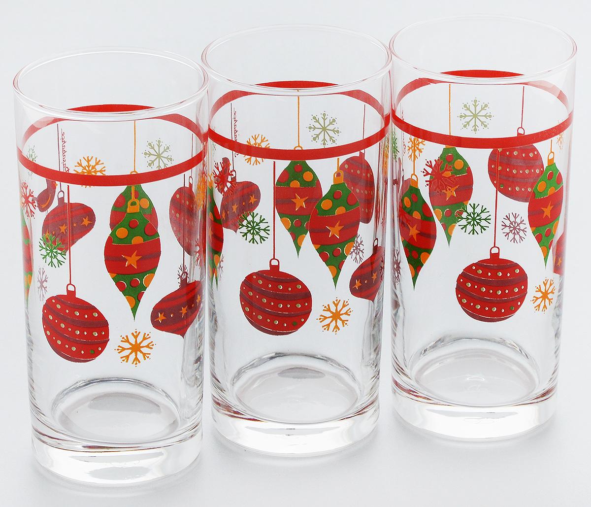 Набор стаканов Pasabahce Workshop Christmas Toys, 287 мл, 3 шт42402B/D11Набор Pasabahce Workshop Christmas Toys состоит из трех бокалов, выполненных из закаленного натрий- кальций-силикатного стекла. Изделия украшены ярким рисунком и прекрасно подойдут для подачи холодных напитков. Их оценят как любители классики, так и те, кто предпочитает современный дизайн. Набор идеально подойдет для сервировки стола и станет отличным подарком к любому празднику.