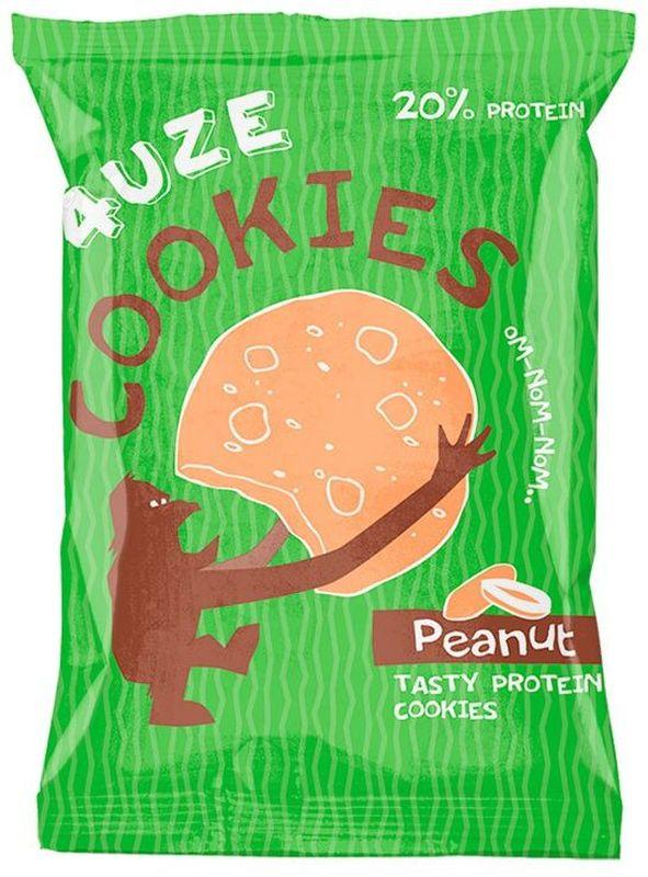 Печенье белковое 4UZE Fuze Cookies, арахис, 640 г, 16 упаковок3882581Полезное печенье с яркими вкусами предназначено для поддержки организма спортсмена в повседневной жизни, когда нет возможности строго придерживаться специальных диет. В обычном виде печенье буквально тает во рту, а если положить его на 15 секунд в микроволновку, то получится отличный теплый маффин, который станет прекрасным полезным десертом. Состав: концентрат сывороточного белка, пшеничный белок, клетчатка, смесь насыщенных и ненасыщенных жиров, фруктоза, разрыхлитель, арахис дробленый, арахисовая мука, ароматизатор «Печенье», сорбат калия (консервант), бензоат натрия (консервант), сукралоза (подсластитель).