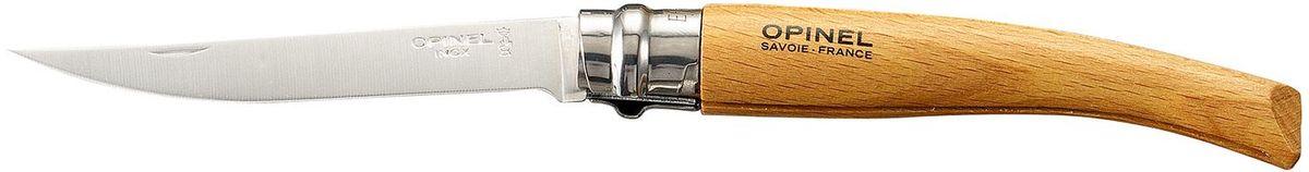 Нож филейный Opinel Slim №10, длина клинка 10 см, цвет: светло-коричневый. 000517000517Нож Opinel №10, филейный, нержавеющая сталь, рукоять - бук. Идеальный карманный нож для пикника, барбекю, походов, охоты и рыбалки. Характеристики ножа: Материал лезвия: сталь Sandvik 12C27 Полировка лезвия: матовая Материал рукояти: бук Тип ножевого замка: Viroblock Приспособление для открытия клинка: насечка на лезвии Длина лезвия, см: 10 Длина ножа, см: 22,5 Ширина лезвия, см: 1,68 Длина в сложенном положении, см: 12,5 Вес, гр: 40 Вес ножа с упаковкой, гр: 46 Viroblock - оригинальное запорное устройство, представляющее собой кольцо с прорезью, которое, будучи повернуто относительно оси ножа, упирается в пятку клинка и не доет ножу самопроизвольно складываться при работе или раскладываться в кармане. Конструкция эта защищена патентом и устанавливается на ножи Opinel с 1955 года, начиная с модели n° 6.