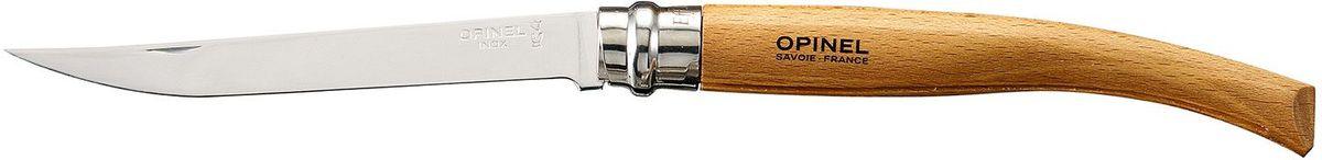 Нож филейный Opinel Slim №12, длина клинка 12 см, цвет: светло-коричневый. 000518000518Нож Opinel №12, филейный, нержавеющая сталь, рукоять - бук. Идеальный карманный нож для пикника, барбекю, походов, охоты и рыбалки. Характеристики ножа: Материал лезвия: сталь Sandvik 12C27 Полировка лезвия: матовая Материал рукояти: бук Тип ножевого замка: Viroblock Приспособление для открытия клинка: насечка на лезвии Длина лезвия, см: 12 Длина ножа, см: 27,0 Ширина лезвия, см: 1,71 Длина в сложенном положении, см: 15,0 Вес, гр: 50 Вес ножа с упаковкой, гр: 57 Viroblock - оригинальное запорное устройство, представляющее собой кольцо с прорезью, которое, будучи повернуто относительно оси ножа, упирается в пятку клинка и не доет ножу самопроизвольно складываться при работе или раскладываться в кармане. Конструкция эта защищена патентом и устанавливается на ножи Opinel с 1955 года, начиная с модели n° 6.