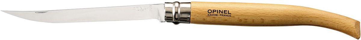 Нож филейный Opinel Slim №15, длина клинка 15 см, цвет: светло-коричневый000519Нож Opinel №15, филейный, нержавеющая сталь, рукоять - бук. Идеальный карманный нож для пикника, барбекю, походов, охоты и рыбалки. Характеристики ножа: Материал лезвия: сталь Sandvik 12C27 Полировка лезвия: матовая Материал рукояти: бук Тип ножевого замка: Viroblock Приспособление для открытия клинка: насечка на лезвии Длина лезвия, см: 15 Длина ножа, см: 32,6 Ширина лезвия, см: 1,87 Длина в сложенном положении, см: 17,6 Вес, гр: 70 Вес ножа с упаковкой, гр: 78 Viroblock - оригинальное запорное устройство, представляющее собой кольцо с прорезью, которое, будучи повернуто относительно оси ножа, упирается в пятку клинка и не доет ножу самопроизвольно складываться при работе или раскладываться в кармане. Конструкция эта защищена патентом и устанавливается на ножи Opinel с 1955 года, начиная с модели n° 6.