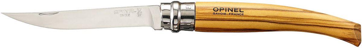 Нож филейный Opinel Slim №10, длина клинка 10 см, цвет: светло-коричневый. 000645000645Нож Opinel №10, филейный, нержавеющая сталь, рукоять - олива. Идеальный карманный нож для пикника, барбекю, походов, охоты и рыбалки. Характеристики ножа: Материал лезвия: сталь Sandvik 12C27 Полировка лезвия: зеркальная Материал рукояти: оливковое дерево Тип ножевого замка: Viroblock Приспособление для открытия клинка: насечка на лезвии Длина лезвия, см: 10 Длина ножа, см: 22,5 Ширина лезвия, см: 1,68 Длина в сложенном положении, см: 12,5 Вес, гр: 40 Вес ножа с упаковкой, гр: 46 Viroblock - оригинальное запорное устройство, представляющее собой кольцо с прорезью, которое, будучи повернуто относительно оси ножа, упирается в пятку клинка и не доет ножу самопроизвольно складываться при работе или раскладываться в кармане. Конструкция эта защищена патентом и устанавливается на ножи Opinel с 1955 года, начиная с модели n° 6.
