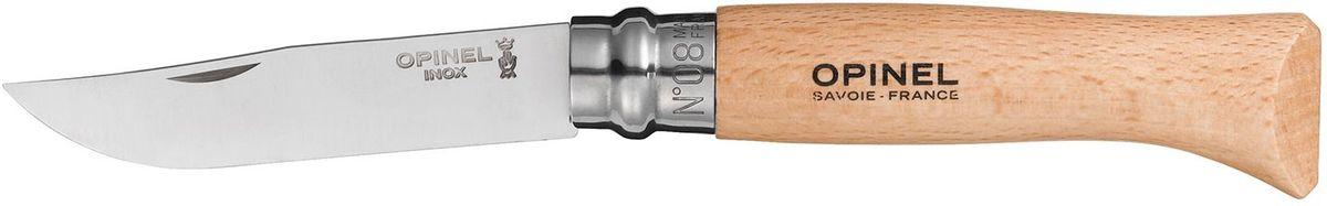Нож Opinel Tradition №08, длина клинка 8,5 см, цвет: светло-коричневый001089Нож Opinel №08, нержавеющая сталь, рукоять - бук, с чехлом. Идеальный карманный нож для пикника, барбекю, походов, охоты и рыбалки. Характеристики ножа: Материал лезвия: сталь Sandvik 12C27 Материал рукояти: бук Тип ножевого замка: Viroblock Приспособление для открытия клинка: насечка на лезвии Длина лезвия, см: 8,5 Длина ножа, см: 19 Ширина лезвия, см: 1,73 Длина в сложенном положении, см: 11 Вес, гр: 48 Вес ножа с упаковкой и чехлом, гр: 77 Viroblock - оригинальное запорное устройство, представляющее собой кольцо с прорезью, которое, будучи повернуто относительно оси ножа, упирается в пятку клинка и не доет ножу самопроизвольно складываться при работе или раскладываться в кармане. Конструкция эта защищена патентом и устанавливается на ножи Opinel с 1955 года, начиная с модели n° 6.