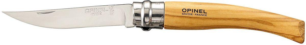 Нож филейный Opinel Slim №08, длина клинка 8 см, цвет: светло-коричневый. 001144001144Нож Opinel №08, филейный, нержавеющая сталь, рукоять - олива. Идеальный карманный нож для пикника, барбекю, походов, охоты и рыбалки. Характеристики ножа: Материал лезвия: сталь Sandvik 12C27 Полировка лезвия: зеркальная Материал рукояти: оливковое дерево Тип ножевого замка: Viroblock Приспособление для открытия клинка: насечка на лезвии Длина лезвия, см: 8 Длина ножа, см: 18,5 Ширина лезвия, см: 1,57 Длина в сложенном положении, см: 10,6 Вес, гр: 30 Вес ножа с упаковкой, гр: 36 Viroblock - оригинальное запорное устройство, представляющее собой кольцо с прорезью, которое, будучи повернуто относительно оси ножа, упирается в пятку клинка и не доет ножу самопроизвольно складываться при работе или раскладываться в кармане. Конструкция эта защищена патентом и устанавливается на ножи Opinel с 1955 года, начиная с модели n° 6.