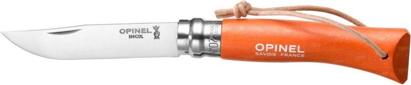 Нож Opinel Tradition. Colored №07, длина клинка 8 см, цвет: оранжевый001443Нож Opinel Tradition Colored №07, нержавеющая сталь, рукоять - граб, цвет - оранжевый, с темляком. Идеальный карманный нож для пикника, барбекю, походов, охоты и рыбалки. Характеристики ножа: Материал лезвия: сталь Sandvik 12C27 Материал рукояти: окрашенный граб, цвет оранжевый Тип ножевого замка: Viroblock Приспособление для открытия клинка: насечка на лезвии Длина лезвия, см: 8 Длина ножа, см: 17,5 Ширина лезвия, см: 1,6 Длина в сложенном положении, см: 10 Вес, гр: 35 Viroblock - оригинальное запорное устройство, представляющее собой кольцо с прорезью, которое, будучи повернуто относительно оси ножа, упирается в пятку клинка и не доет ножу самопроизвольно складываться при работе или раскладываться в кармане. Конструкция эта защищена патентом и устанавливается на ножи Opinel с 1955 года, начиная с модели n° 6.