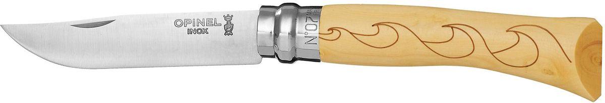 Нож Opinel Tradition. Nature №07, длина клинка 8 см, цвет: светло-бежевый. 001552001552Нож Opinel Nature №7, нержавеющая сталь, рукоять - самшит, рисунок - волны. Идеальный карманный нож для пикника, барбекю, походов, охоты и рыбалки. Характеристики ножа: Материал лезвия: сталь Sandvik 12C27 Материал рукояти: самшит, нанесен рисунок - волны Тип ножевого замка: Viroblock Приспособление для открытия клинка: насечка на лезвии Длина лезвия, см: 8 Длина ножа, см: 17,8 Ширина лезвия, см: 1,6 Длина в сложенном положении, см: 10 Вес, гр: 42 Вес ножа с упаковкой, гр: 47 Viroblock - оригинальное запорное устройство, представляющее собой кольцо с прорезью, которое, будучи повернуто относительно оси ножа, упирается в пятку клинка и не доет ножу самопроизвольно складываться при работе или раскладываться в кармане. Конструкция эта защищена патентом и устанавливается на ножи Opinel с 1955 года, начиная с модели n° 6.
