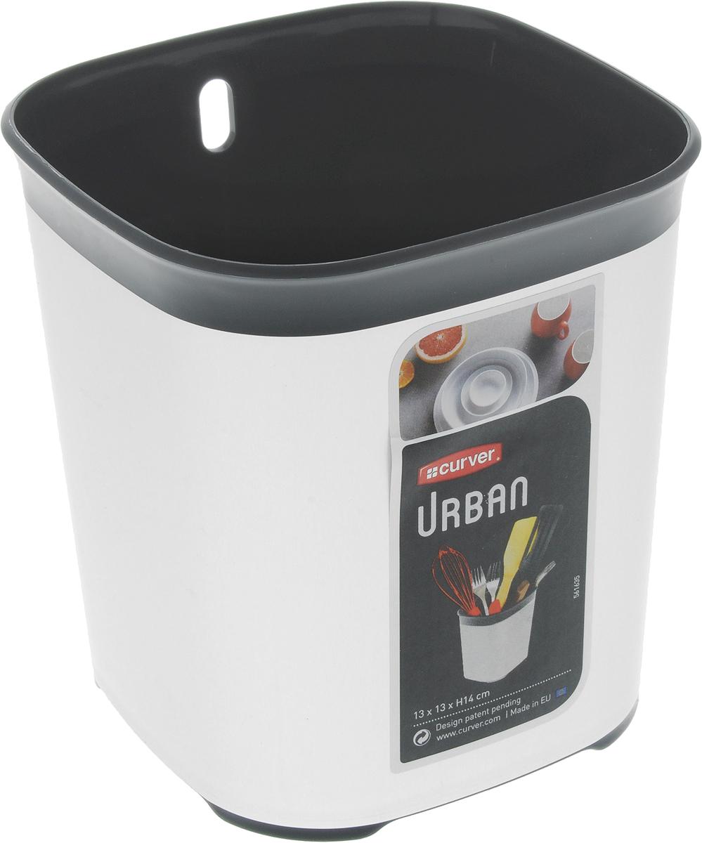 Сушилка для столовых приборов Curver Urban, цвет: серый, черный, 13 х 13 х 14 см02333-216-00Сушилка для столовых приборов Curver Urban изготовлена из прочного пластика. Дно изделия оформлено перфорацией. Сушилка удобна в использовании и имеет современный дизайн, который станет ярким акцентом в интерьере вашей кухни. Можно мыть в посудомоечной машине.