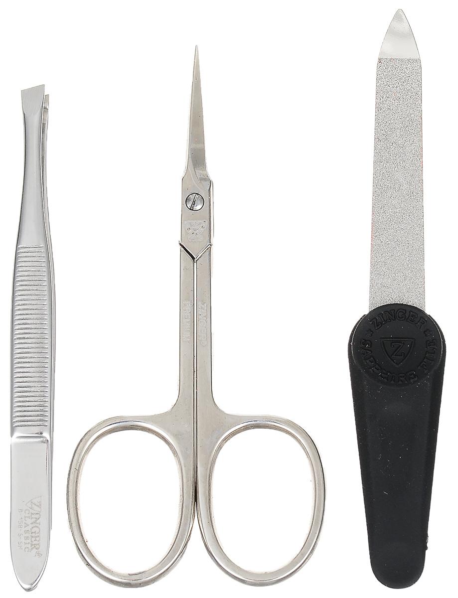 Zinger Маникюрный набор Ms Z-3 S-N3226Ман. набор 3 предмета (ножницы кутикульные, пилка алмазная , пинцет). Чехол натуральная кожа. Цвет инструментов - глянцевое серебро. Оригинальня фирменная коробка