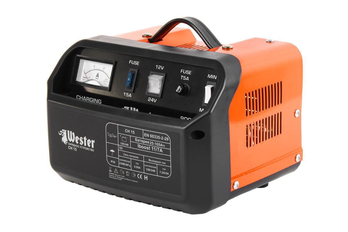 Зарядное устройство Wester CH15, для АКБ, 150Вт37147Зарядные предпусковые устройства серии СН предназначены для зарядки свинцово-кислотных аккумуляторных батарей, используемых на дизельных и бензиновых двигателях, мотоциклах, моторных лодках.
