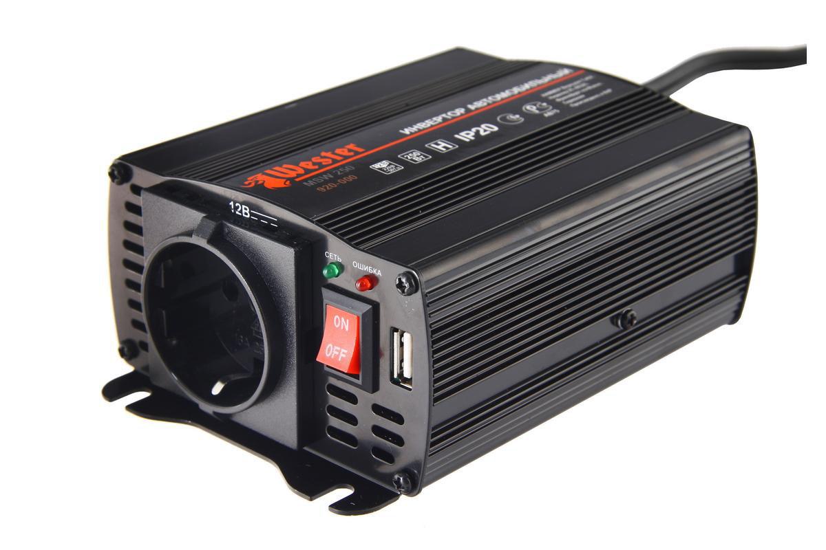 Преобразователь напряжения Wester MSW250, инверторный, 12-220В+USB77424
