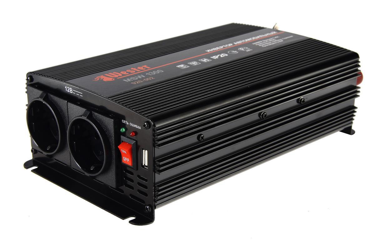 Преобразователь напряжения Wester MSW1300, инверторный, 24-220В+USB77428