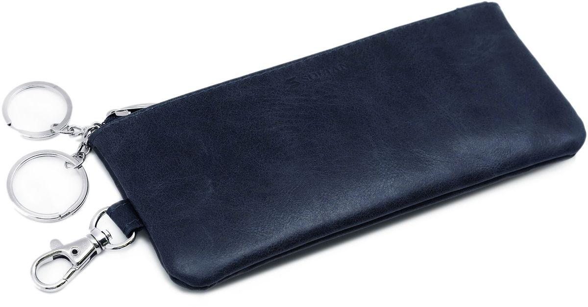 Ключница Soltan, цвет: темно-синий. 532 11 17532 11 17Ключница от Soltan выполнена из натуральной кожи с эффектом старения. Модель застегивается на молнии, имеет 2 кольца на цепочке для ключей и карабин.