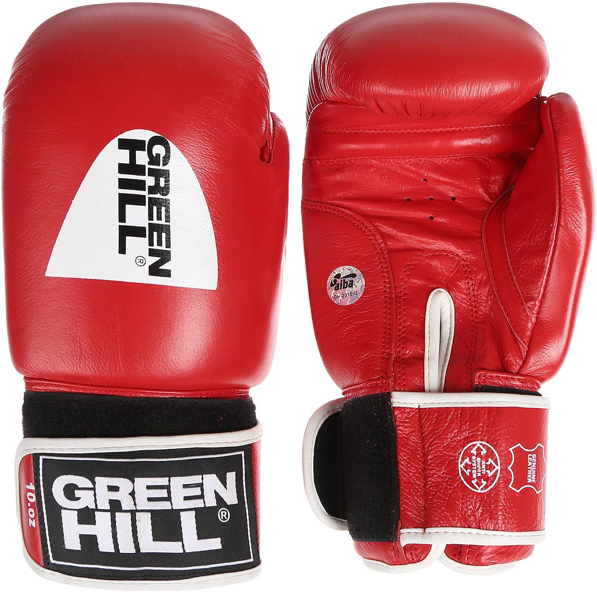 Перчатки боксерские Green Hill Tiger, цвет: красный, черный, белый. Вес 10 унций. BGT-2010аBGT-2010аБоксерские перчатки Green Hill Tiger, одобренные международной ассоциацией любительского бокса (AIBA), прекрасно подойдут для прогрессирующих спортсменов. Верх выполнен из натуральной кожи, наполнитель - из пенополиуретана. Точечная вентиляция в области ладони позволяет создать максимально комфортный терморежим во время занятий. Широкий ремень, охватывая запястье, полностью оборачивается вокруг манжеты, благодаря чему создается дополнительная защита лучезапястного сустава от травмирования. Перчатки прекрасно сидят на руке. Застежка на липучке способствует быстрому и удобному надеванию перчаток, плотно фиксирует перчатки на руке.