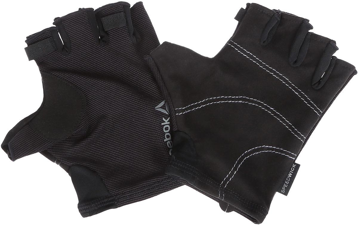 Перчатки для фитнеса Reebok Se U Workout Glove, цвет: черный. Размер M (20)AJ6262Перчатки Reebok Se U Workout Glove выполнены из эластичного текстиля PlayDry, выводящего лишнюю влагу с поверхности кожи. Такие перчатки гарантируют надежное сцепление с поверхностью, предохраняют руки от натирания. Эластичные манжеты. Без пальцев. Светоотражающий фирменный логотип. Длина: 14,5 см. Ширина: 8 см.