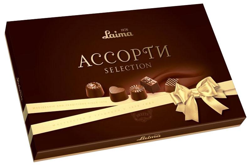 Laima Классика Ассорти конфет мини, 190 гP140208262Конфеты Laima Классика Ассорти пяти разных форм и с тремя начинками: молочная помадка, фруктовое желе, крем-какао. В коробке европейского дизайна.