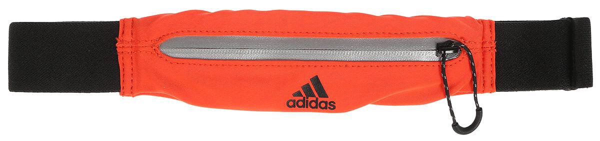 Сумка поясная для бега Adidas Run Belt, цвет: оранжевый, черныйS96358Сумка Run Belt. Необходим при длительных пробежках для людей, которые действительно серьезно подходят к экипировке.
