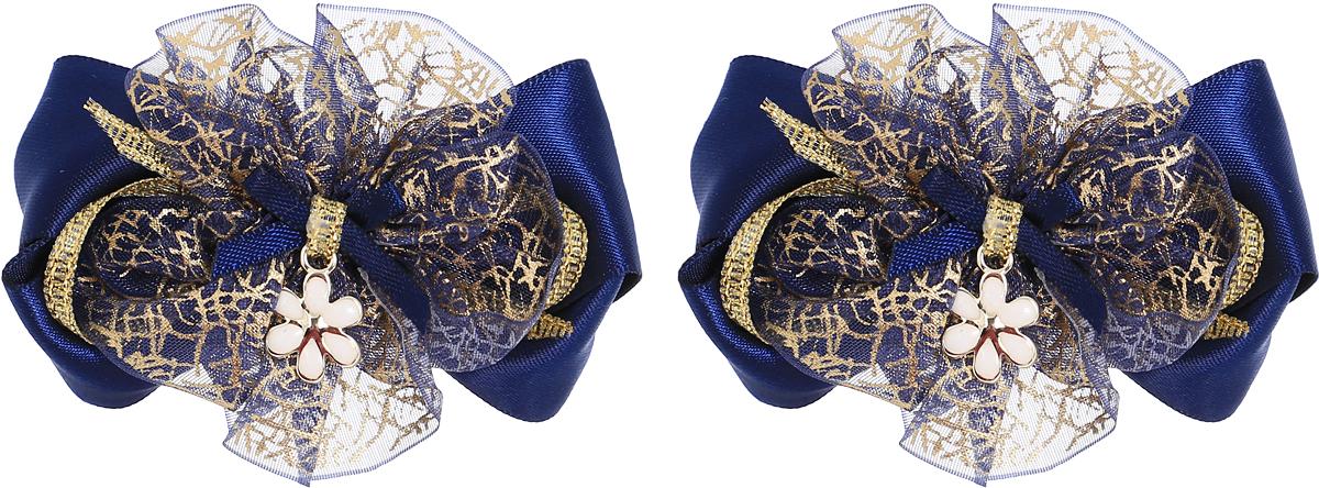 Babys Joy Резинка для волос цвет темно-синий золотой 2 шт MN 143/2MN 143/2_темно-синий, золотой, цветочекРезинка для волос Babys Joy выполнена в виде темно-синего банта и золотистого цветка из декоративных лент, центр которого закреплен элементом в виде металлического цветка. Резинка позволит не только убрать непослушные волосы с лица, но и придать образу немного романтичности и очарования. В упаковке: 2 резинки. Рекомендовано для детей старше трех лет.