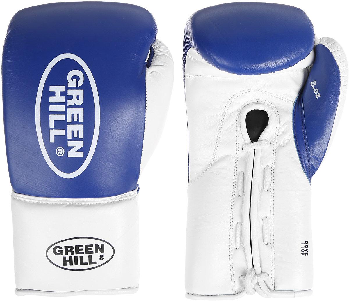"Перчатки боксерские Green Hill ""Dove"", цвет: синий, белый. Размер 10 унций. BGD-2050"