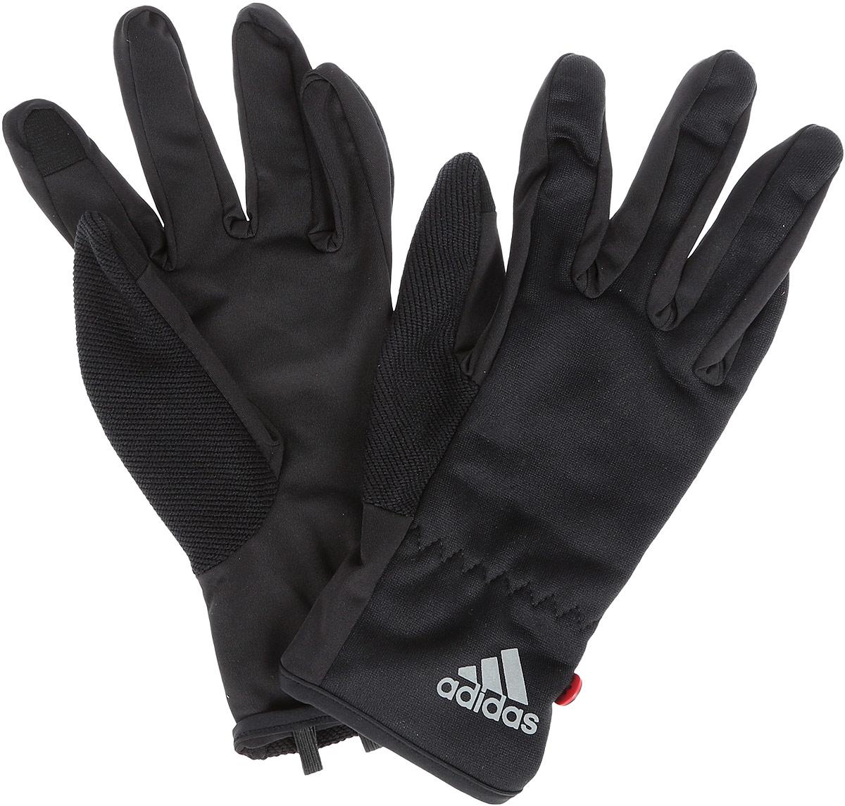 Перчатки для бега adidas Run Clmlt Glove, цвет: черный. S94173. Размер L (22)S94173Мягкие и легкие перчатки Adidas Run Clmlt Glove защитят вас от холода и непогоды во время интенсивной тренировки. Технология Сlimalite способствует быстрому выведению влаги с поверхности тела. Модель оформлена логотипом бренда. Выделяйтесь из толпы благодаря стильному дизайну перчаток.