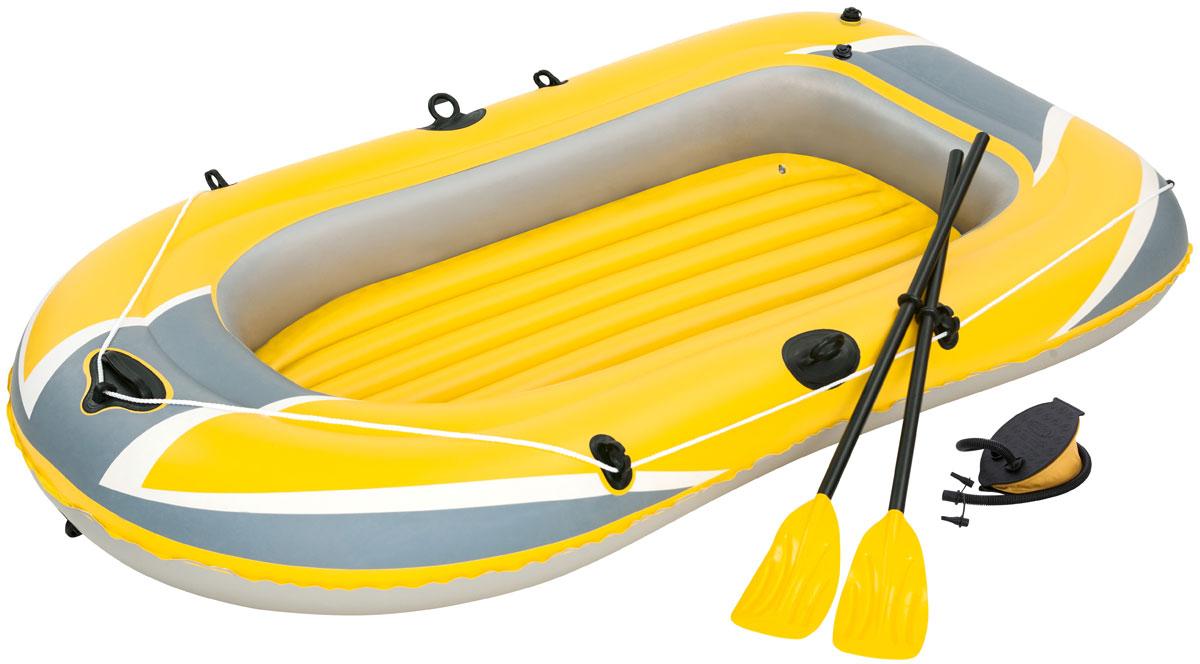 Bestway Лодка надувная гребная с вёслами и насосом61083Быстрое надувание и сдувание. Веревка по периметру лодки. Надувное дно. Пластиковые ручки для переноски. В комплекте: насос ручной, весла. Вместимость: 2 человека. Размер сдутой лодки: 234 х 135 см. Размер надутой лодки: 228 х 121 см. Максимальная нагрузка 170 кг.