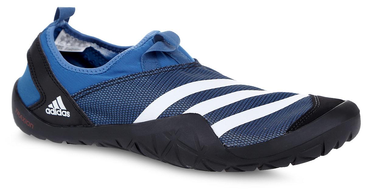 Обувь для кораллов Adidas Performance Climacool Jawpaw Sl, цвет: синий, черный, белый. BB5445. Размер 7 (39)BB5445Обувь для кораллов от Adidas Performance Climacool Jawpaw Sl предназначена для пляжного отдыха, плавания в открытой воде, а также для любых видов водного спорта. Модель выполнена из плотного текстиля с добавлением искусственного материала. Детали: уплотненный мыс и пятка, подкладка из искусственного материала, плоская резиновая подошва. Такая обувь не только защитит ступни ног при хождении по каменистому дну, а также от горячего песка при хождении по пляжу, но и обеспечит комфорт.
