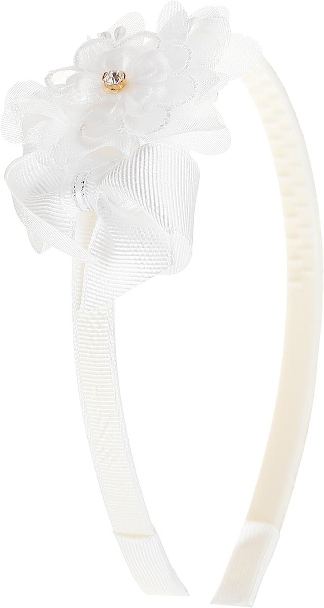 Babys Joy Ободок для волос цвет белый MNX 2MNX 2_белый, цветокОбодок для волос Babys Joy выполнен из пластика с зубчиками и обтянут лентой белого цвета. Ободок оформлен декоративным элементом в виде цветка из текстиля белого цвета и дополнен стразом в центре цветка. Ободок позволяет не только убрать непослушные волосы со лба, но и придать образу романтичности и очарования.