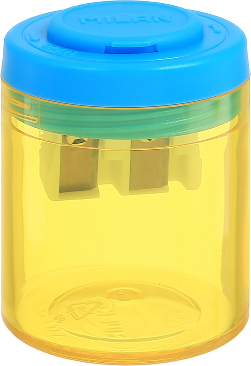 Milan Точилка Collection с контейнером цвет желтый голубой20161912_желтый/голубойДизайнерская точилка Milan Collection оснащена безопасной системой заточки. Эта система предотвращает отделение лезвия от точилки. Идеально подходит для использования в школах. Стальное лезвие острое и устойчиво к повреждению. Идеально подходит для заточки графитовых и цветных карандашей