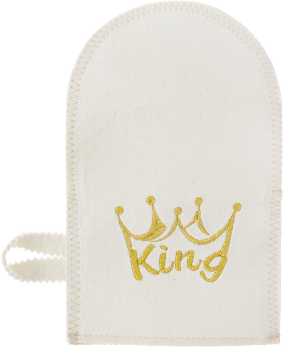 Рукавица для бани и сауны Доктор Баня King907Рукавица Доктор Баня King, изготовленная из фетра, - незаменимый банный атрибут. Изделие декорировано ярким рисунком и оснащено петелькой для подвешивания на крючок. Такая рукавица защищает руки от горячего пара, делает комфортным пребывание в парной. Также ею можно прекрасно промассировать тело. Размер рукавицы: 16 х 26 см. Материал: фетр (100% шерсть).