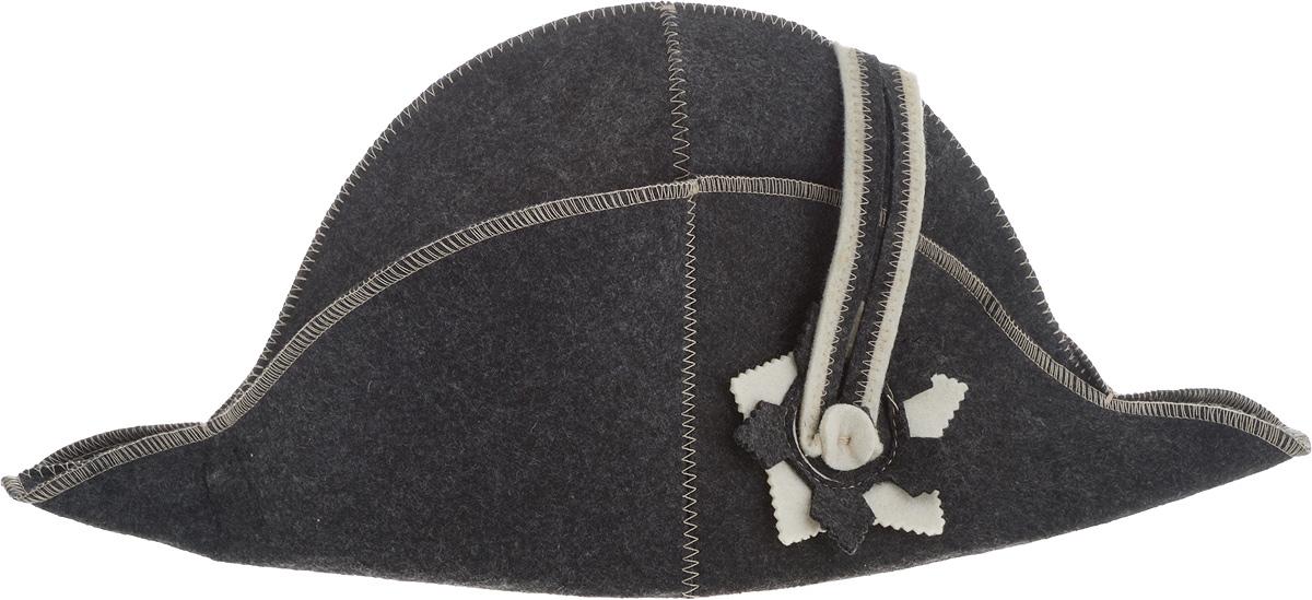 Шапка для бани и сауны Доктор Баня Наполеон, цвет: темно-серый8272Шапка Доктор баня Наполеон станет незаменимым аксессуаром для любителей отдыха в бане и сауне. Шапка выполнена из войлока (100% шерсти) и оформлена в виде шляпы Наполеона. Необычный дизайн изделия поможет сделать ваш отдых более приятным и разнообразным, к тому же шапка защитит вас от появления головокружения в бани, ваши волосы от сухости и ломкости, а голову от перегрева. Обхват головы (по основанию шапки): 72 см. Общая высота шапки: 22 см.