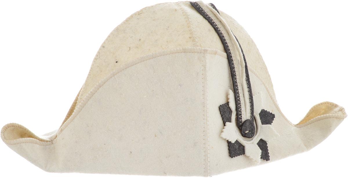 Шапка для бани и сауны Доктор Баня Наполеон, цвет: бежевый8531Шапка Доктор баня Наполеон станет незаменимым аксессуаром для любителей отдыха в бане и сауне. Шапка выполнена из войлока (100% шерсти) и оформлена в виде шляпы Наполеона. Необычный дизайн изделия поможет сделать ваш отдых более приятным и разнообразным, к тому же шапка защитит вас от появления головокружения в бани, ваши волосы от сухости и ломкости, а голову от перегрева. Обхват головы (по основанию шапки): 72 см. Общая высота шапки: 22 см.