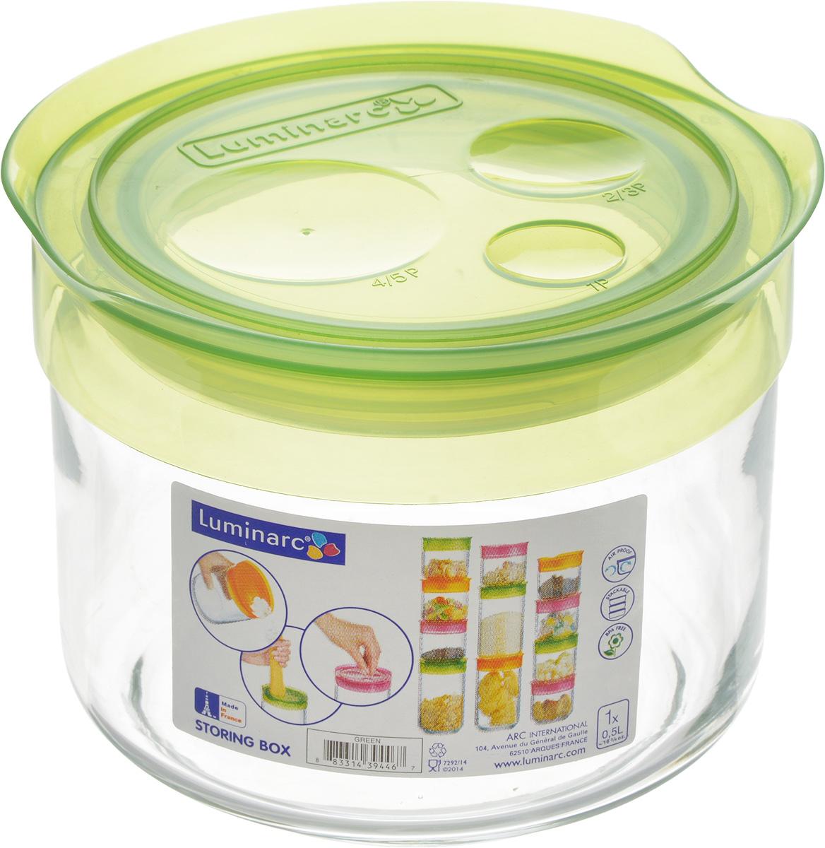 Банка для сыпучих продуктов Luminarc Storing Box, с крышкой, цвет: салатовый, 500 млJ2255Банка Luminarc Storing Box, выполненная из упрочненного стекла, станет незаменимым помощником на кухне. В ней будет удобно хранить разнообразные сыпучие продукты, такие как кофе, сахар, соль или специи. Прозрачная банка позволит следить, что и в каком количестве находится внутри. Банка надежно закрывается пластиковой крышкой, которая снабжена резиновым уплотнителем для лучшей фиксации. Такая банка не только сэкономит место на вашей кухне, но и украсит интерьер. Объем: 500 мл. Диаметр банки (по верхнему краю): 9 см. Высота банки (без учета крышки): 8 см.