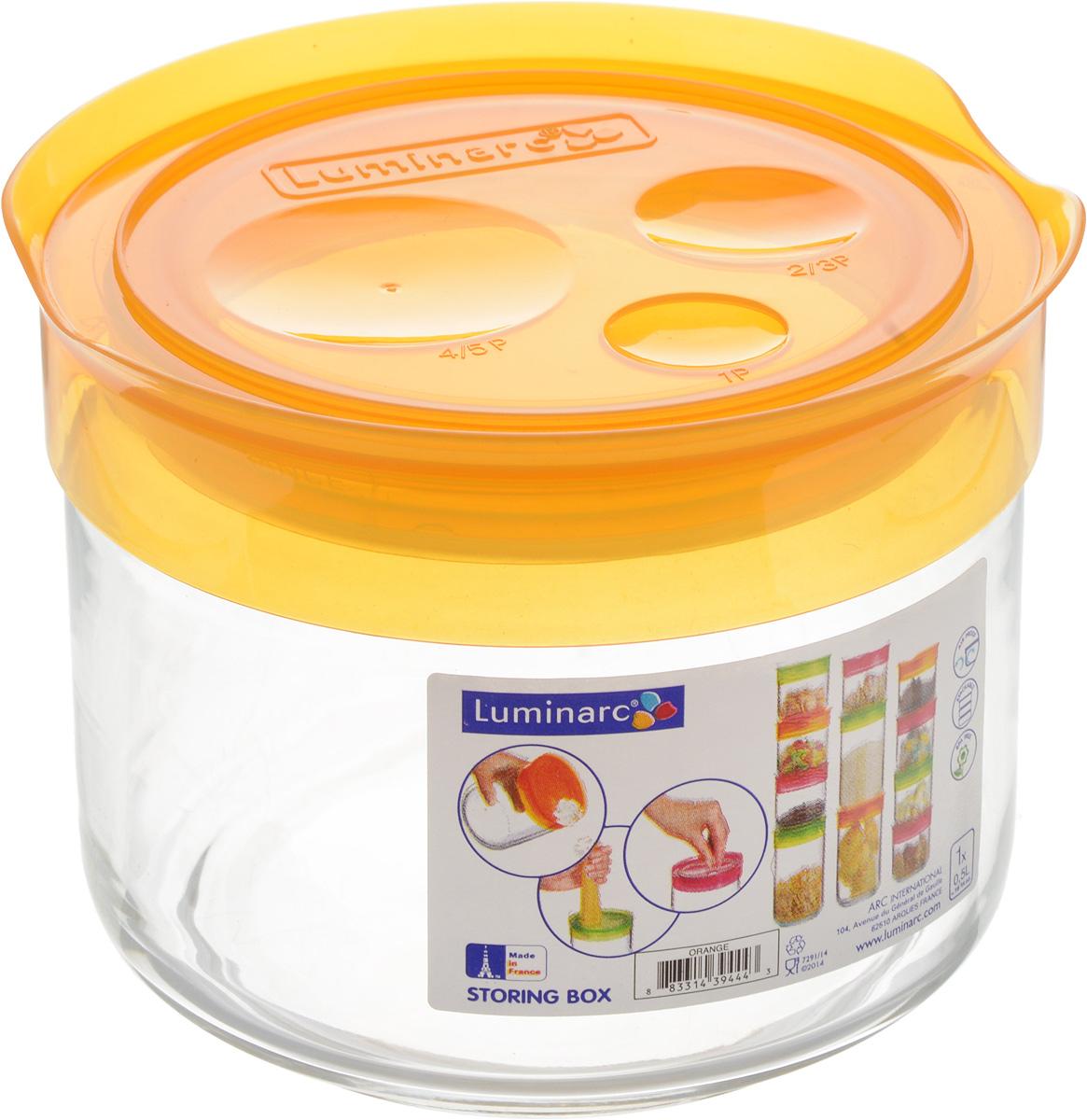 Банка для сыпучих продуктов Luminarc Storing Box, с крышкой, цвет: оранжевый, 500 млJ2034Банка Luminarc Storing Box, выполненная из упрочненного стекла, станет незаменимым помощником на кухне. В ней будет удобно хранить разнообразные сыпучие продукты, такие как кофе, сахар, соль или специи. Прозрачная банка позволит следить, что и в каком количестве находится внутри. Банка надежно закрывается пластиковой крышкой, которая снабжена резиновым уплотнителем для лучшей фиксации. Такая банка не только сэкономит место на вашей кухне, но и украсит интерьер. Объем: 500 мл. Диаметр банки (по верхнему краю): 9 см. Высота банки (без учета крышки): 8 см.