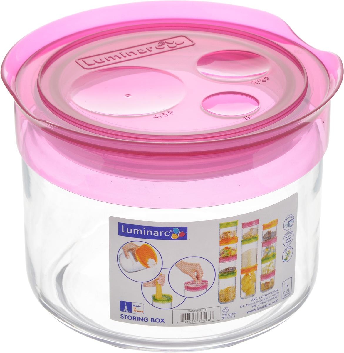 Банка для сыпучих продуктов Luminarc Storing Box, с крышкой, цвет: малиновый, 500 млJ2256Банка Luminarc Storing Box, выполненная из упрочненного стекла, станет незаменимым помощником на кухне. В ней будет удобно хранить разнообразные сыпучие продукты, такие как кофе, сахар, соль или специи. Прозрачная банка позволит следить, что и в каком количестве находится внутри. Банка надежно закрывается пластиковой крышкой, которая снабжена резиновым уплотнителем для лучшей фиксации. Такая банка не только сэкономит место на вашей кухне, но и украсит интерьер. Объем: 500 мл. Диаметр банки (по верхнему краю): 9 см. Высота банки (без учета крышки): 8 см.