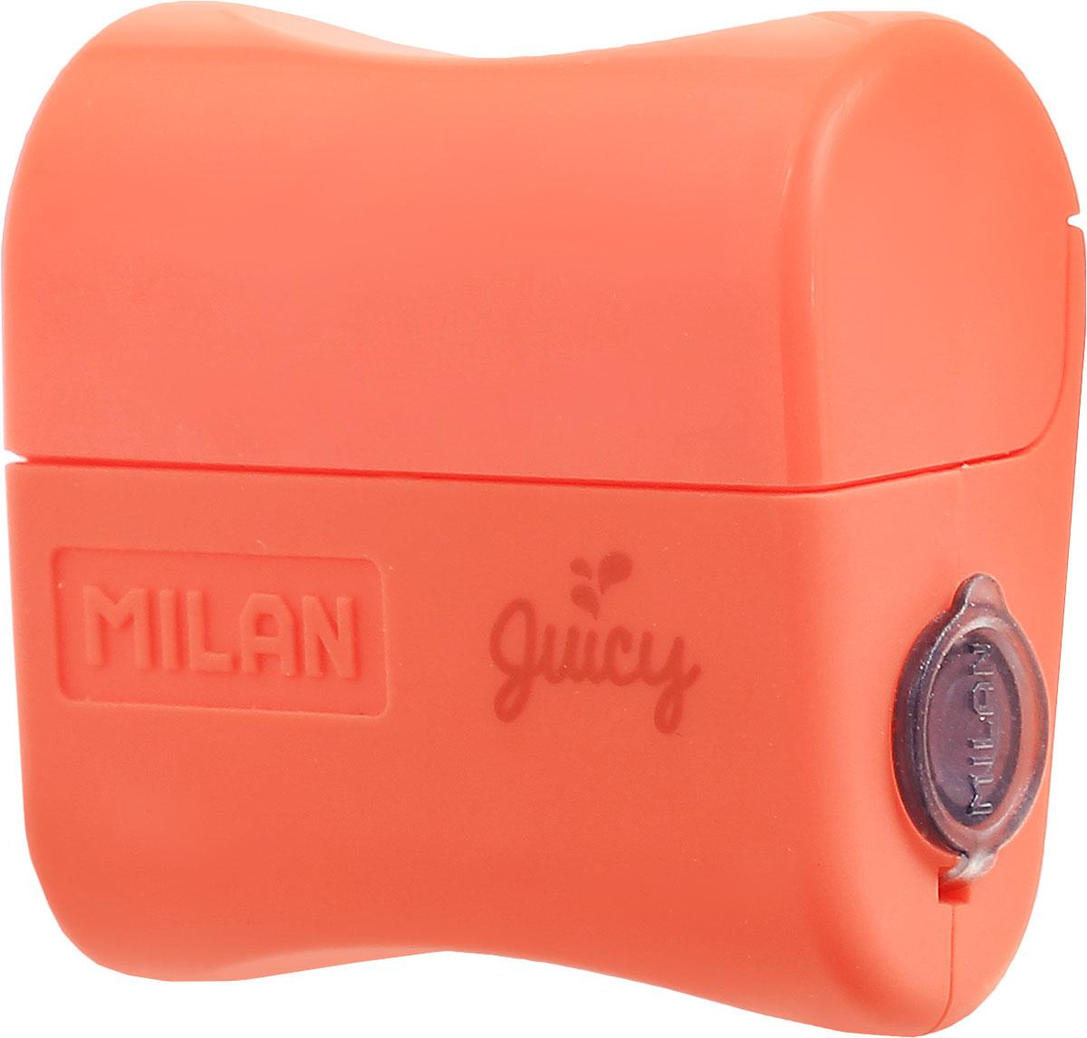 Milan Точилка Juicy с контейнером цвет оранжевый20164132_оранжевыйДизайнерская точилка Milan  Juicy с контейнером оснащена безопасной системой заточки. Эта система предотвращает отделение лезвия от точилки. Идеально подходит для использования в школах. Стальное лезвие острое и устойчиво к повреждению. Идеально подходит для заточки графитовых и цветных карандашей.