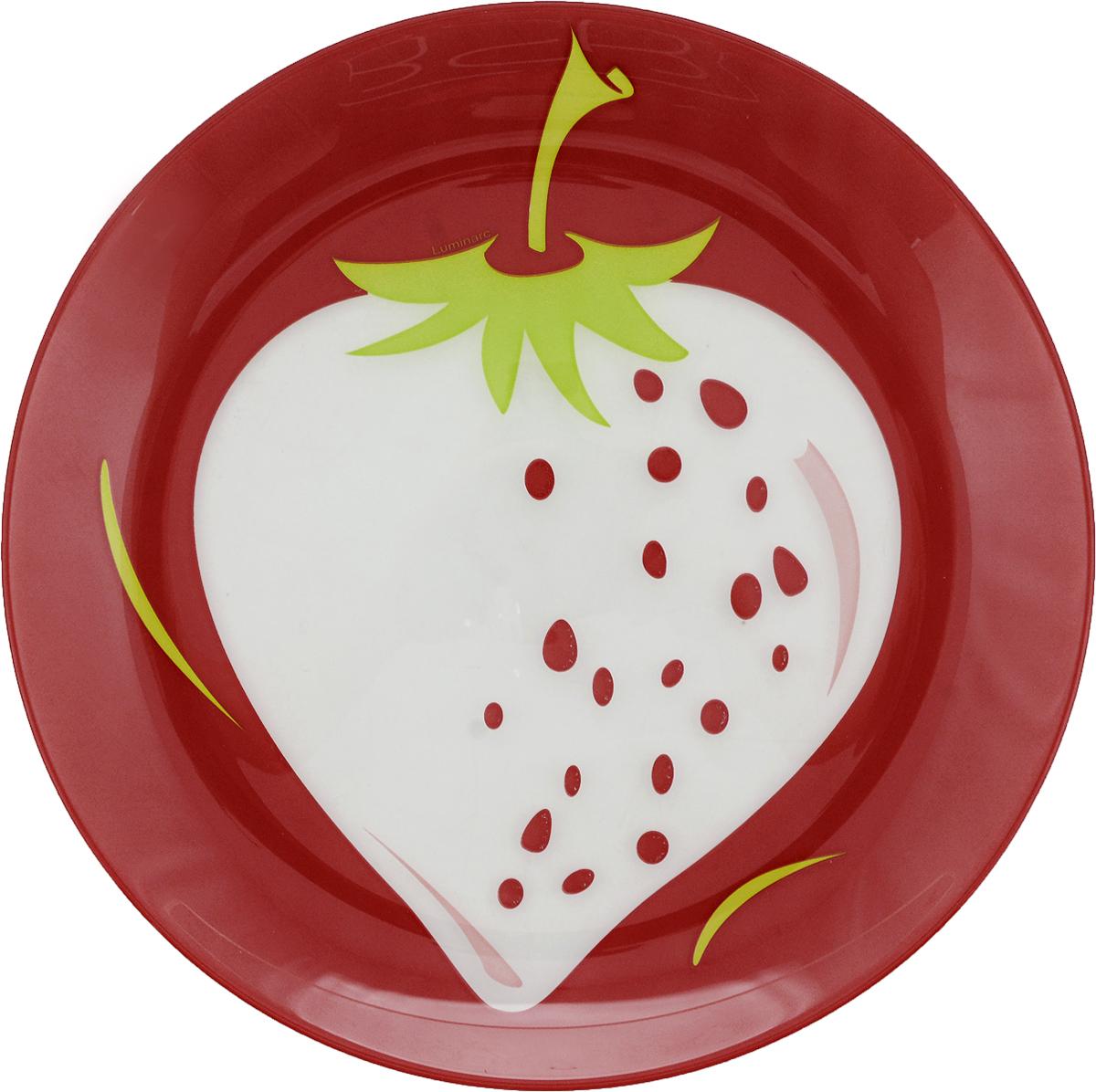 Тарелка десертная Luminarc Клубника, диаметр 20 смL2665Десертная тарелка Luminarc Клубника, изготовленная из высококачественного стекла, имеет изысканный внешний вид. Такая тарелка прекрасно подходит как для торжественных случаев, так и для повседневного использования. Идеальна для подачи десертов, пирожных, тортов и многого другого. Она прекрасно оформит стол и станет отличным дополнением к вашей коллекции кухонной посуды. Диаметр тарелки: 20 см. Высота тарелки: 1,5 см.