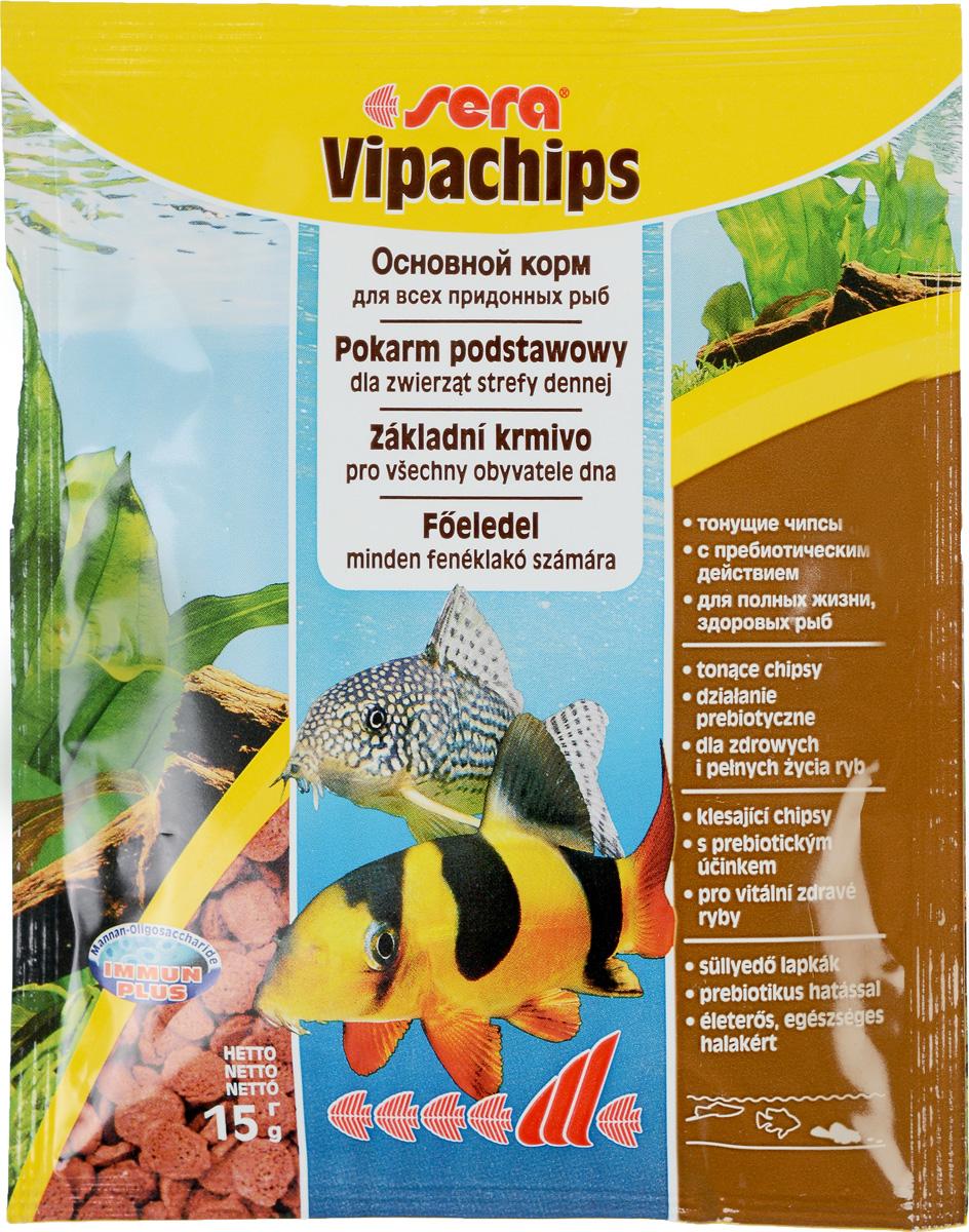 Корм для рыб Sera Vipachips, 15 г0516Корм для рыб Sera Vipachips в виде чипсов предназначен для всех видов донных рыб. Быстро тонущие чипсы становятся мягкими в воде, при этом надолго сохраняют свою форму и не загрязняют воду. Состав корма позволяет обеспечить придонных обитателей всеми необходимыми им питательными веществами. Отлично подходит для кормления креветок, крабов и других пресноводных беспозвоночных. Тщательно подобранные ингредиенты корма с пребиотическим действием способствуют здоровью и жизнестойкости рыб. Формула Vital-Immun-Protect гарантирует вашим рыбам прекрасное здоровье, укрепление иммунитета и обилие жизненных сил. Инструкция по применению: Кормить экономно один раз в день. Ночных животных желательно кормить вечером. Ингредиенты: рыбная мука, пшеничная мука, кукурузный крахмал, пшеничные зародыши, пивные дрожжи, цельный яичный порошок, сухое молоко, рыбий жир (49% Омега жирных кислот), криль, маннанолигосахариды (0,4%), растительное сырье, люцерна, крапива,...