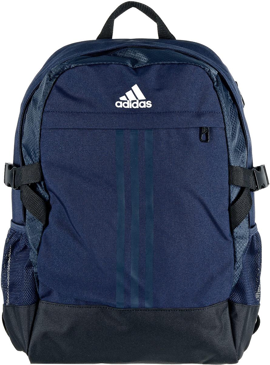 Рюкзак спортивный Adidas Power 3, цвет: темно-синий, черныйS98820Спортивный рюкзак Adidas Power 3 идеально подходит для тренировочной экипировки. Выполнен рюкзак из полиэстера и полиэфира. Изделие имеет два отделения, которые застегиваются на застежки-молнии. Одно отделение предназначено для ноутбука. Внутри другого отделения можно поместить все основные вещи. Снаружи, на передней стенке расположен нашивной карман на застежке-молнии, по бокам - накладные сетчатые карманы для бутылок с водой. Рюкзак оснащен широкими регулируемыми лямками и ручкой для переноски в руке. Лямки с внутренней стороны имеют мягкую сетчатую подкладку, которая обеспечивает проникновение воздуха. Объем рюкзака изменяется с помощью компрессионных ремней с застежками-фастекс, расположенных по бокам.