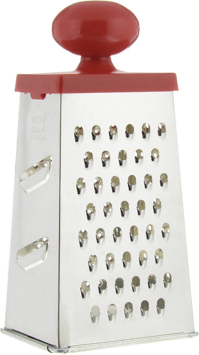 Терка Кварц, четырехгранная, высота 22 смКМ01.000.03Четырехгранная терка Кварц, выполненная из высококачественной жести, станет незаменимым атрибутом приготовления пищи. На одном изделии представлены четыре вида терок - крупная, средняя, мелкая и нарезка ломтиками. Терка оснащена удобной пластиковой ручкой. Терка Кварц станет достойным дополнением к вашему кухонному инвентарю. Высота терки: 22 см. Размер основания: 10,5 х 8,5 см.