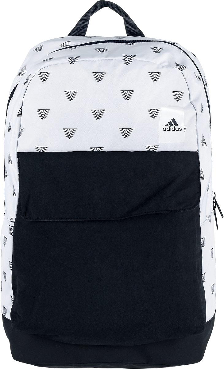 Рюкзак спортивный женский Adidas Good, цвет: белый, черный, 23 лS98161Женский спортивный рюкзак Adidas Good выполнен из полиэстера и оформлен оригинальным принтом. Основание изделия имеет покрытие из термополиуретана, которое предотвращает проникновение воды и грязи. Изделие имеет одно отделение, которое застегивается на застежку-молнию. Внутри находится вместительный накладной карман для ноутбука. Снаружи, на передней стенке расположен накладной карман, закрывающийся на клапан с застежкой-липучкой. Рюкзак оснащен широкими регулируемыми лямками и ручкой для переноски в руке. Лямки с внутренней стороны имеют мягкую сетчатую подкладку, которая обеспечивает проникновение воздуха.
