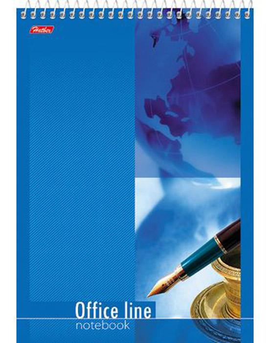 Hatber Блокнот Office Line 60 листов в клетку цвет синий60Б5B1сп_16112Блокнот Hatber Office Line - незаменимый атрибут современного человека, необходимый для рабочих и повседневных записей в офисе и дома. Фронтальная часть обложки выполнена из картона и оформлена изображением пера и чернил на синем фоне. Тыльная обложка выполнена из плотного картона, что позволяет делать записи на весу. Внутренний блок состоит из 60 листов белой бумаги. Стандартная линовка в голубую клетку без полей. Листы блокнота соединены металлическим гребнем.