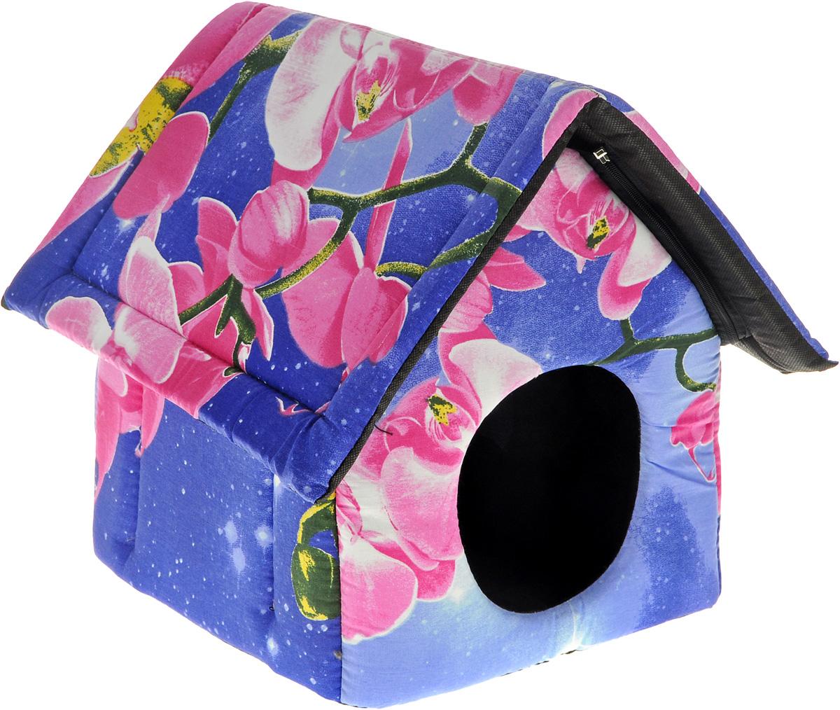 Лежак для животных Elite Valley Домик, цвет: фиолетовый, 34 х 32 х 35 см. Л15/1Л15/1 Лежак закрытый домик _ орхидея на фиолетовом, материал бязь, поролонЛежак закрытый домик _ орхидея на фиолетовом, материал бязь, поролон