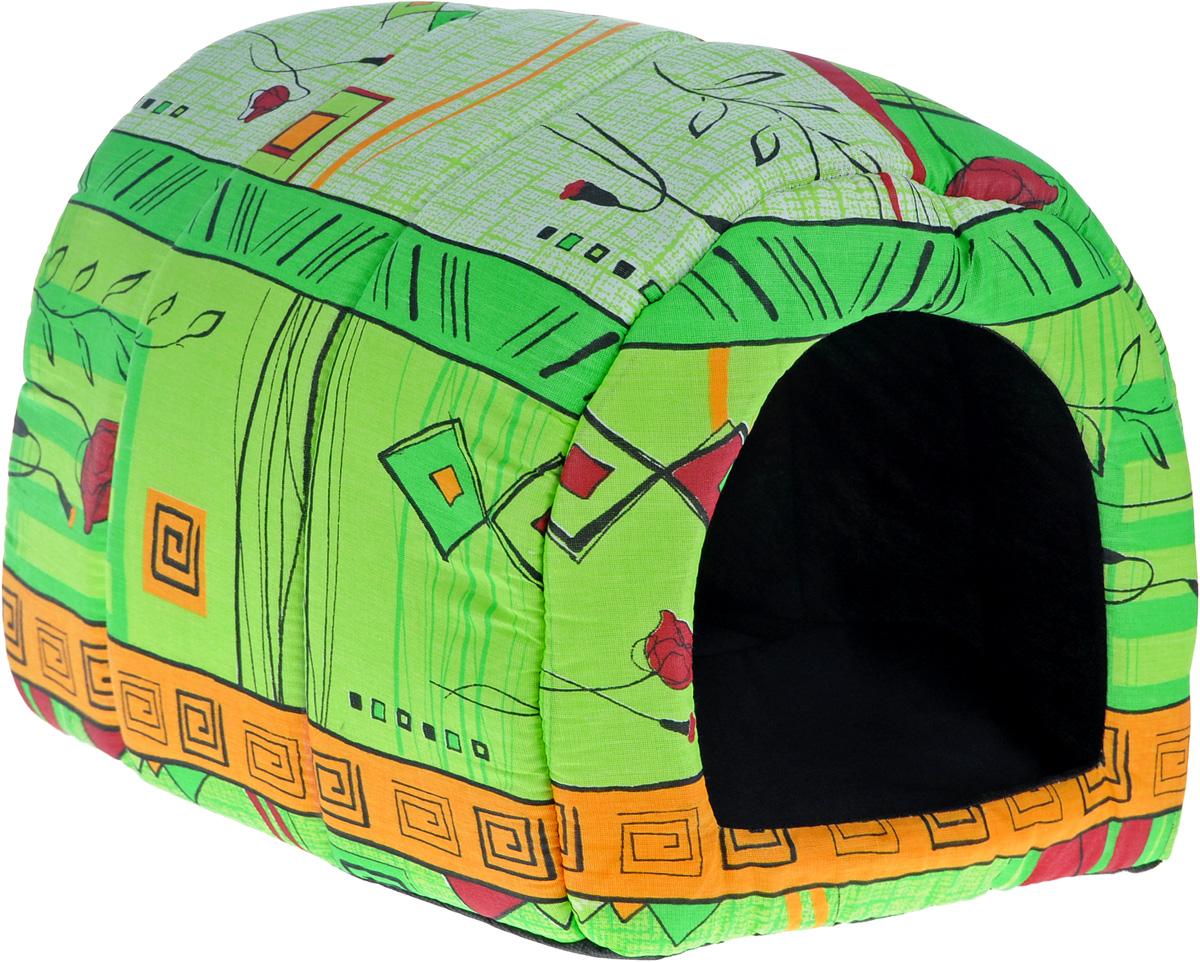 Домик для животных Elite Valley Норка, цвет: салатовый, оранжевый, 42 х 35 х 35 см. Л-10/3Л-10/3_салатовый, оранжевыйДомик Elite Valley Норка непременно станет любимым местом отдыха вашего домашнего животного. Изделие выполнено из бязи и нетканого материала, а наполнитель - из поролона. Такой материал не теряет своей формы долгое время. Внутри имеется мягкая съемная подстилка. В таком домике вашему любимцу будет мягко и тепло. Он подарит вашему питомцу ощущение уюта и уединенности, а также возможность спрятаться.