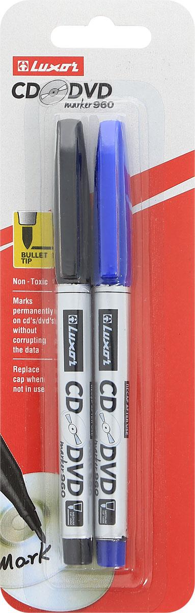 Luxor Набор маркеров CD/DVD цвет синий черный 2 шт